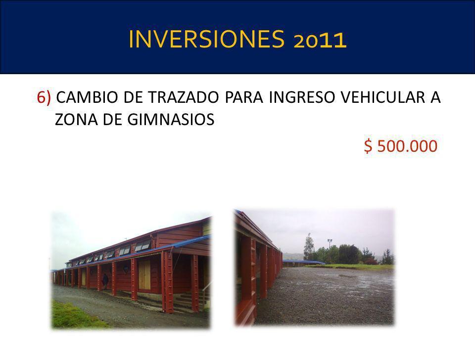 INVERSIONES 20 11 6) CAMBIO DE TRAZADO PARA INGRESO VEHICULAR A ZONA DE GIMNASIOS $ 500.000