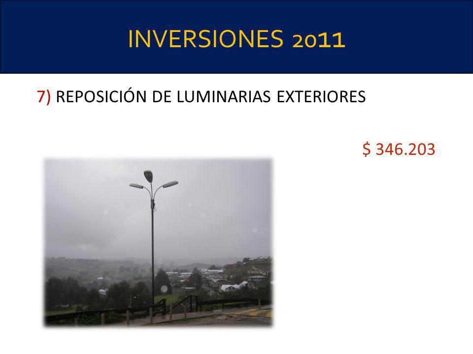INVERSIONES 20 11 7) REPOSICIÓN DE LUMINARIAS EXTERIORES $ 346.203