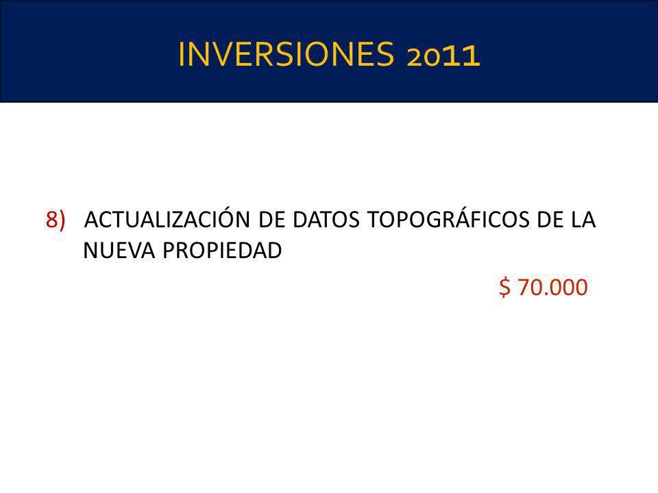 INVERSIONES 20 11 8) ACTUALIZACIÓN DE DATOS TOPOGRÁFICOS DE LA NUEVA PROPIEDAD $ 70.000