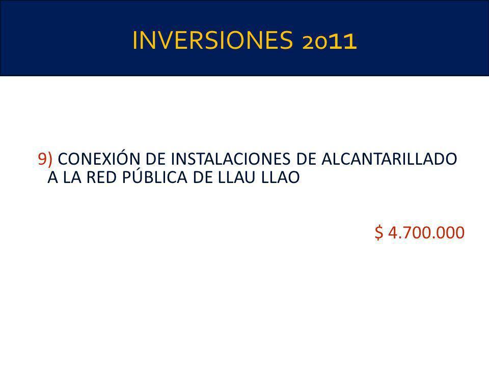 INVERSIONES 20 11 9) CONEXIÓN DE INSTALACIONES DE ALCANTARILLADO A LA RED PÚBLICA DE LLAU LLAO $ 4.700.000