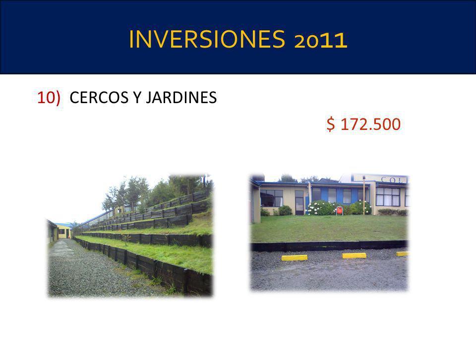 INVERSIONES 20 11 10) CERCOS Y JARDINES $ 172.500