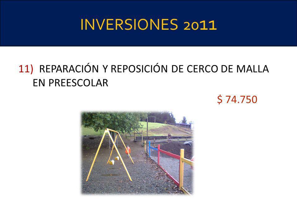 INVERSIONES 20 11 11) REPARACIÓN Y REPOSICIÓN DE CERCO DE MALLA EN PREESCOLAR $ 74.750