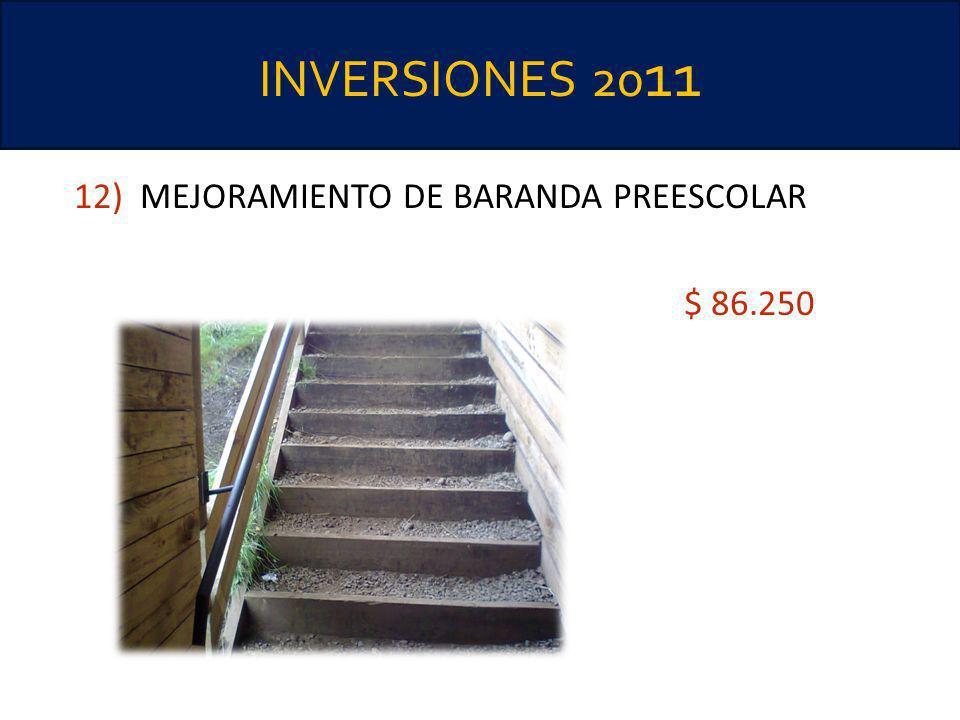 INVERSIONES 20 11 12) MEJORAMIENTO DE BARANDA PREESCOLAR $ 86.250