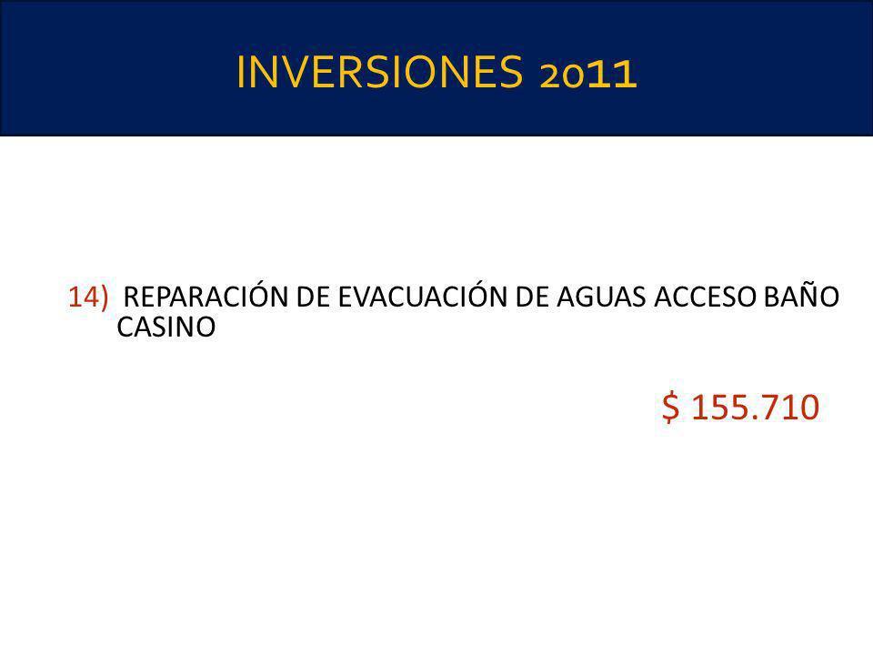 INVERSIONES 20 11 14) REPARACIÓN DE EVACUACIÓN DE AGUAS ACCESO BAÑO CASINO $ 155.710