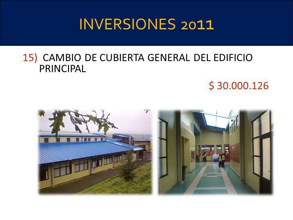 INVERSIONES 20 11 15) CAMBIO DE CUBIERTA GENERAL DEL EDIFICIO PRINCIPAL $ 30.000.126 IMPERMEABILIZACIÓN MURO Y PAVIMENTO SALA PREESCOLAR REPARACIÓN BA