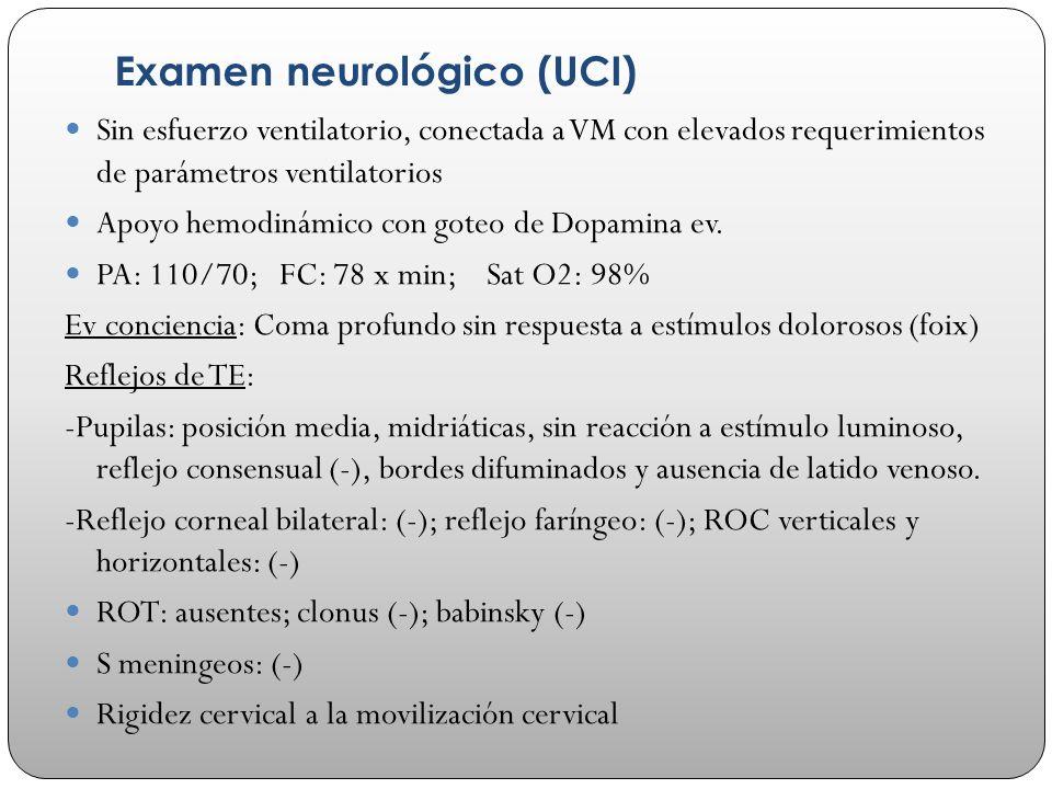 Examen neurológico (UCI) Sin esfuerzo ventilatorio, conectada a VM con elevados requerimientos de parámetros ventilatorios Apoyo hemodinámico con gote