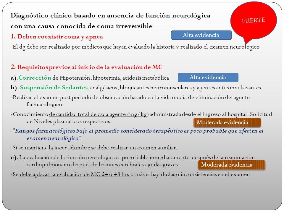 Diagnóstico clínico basado en ausencia de función neurológica con una causa conocida de coma irreversible 1. Deben coexistir coma y apnea -El dg debe