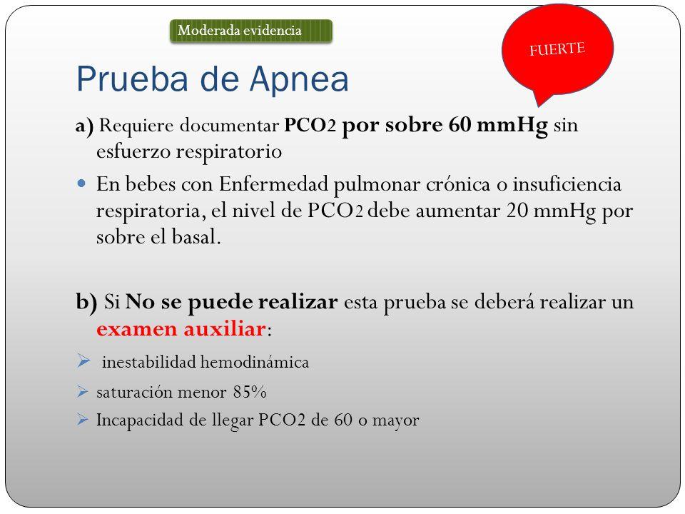 Prueba de Apnea a) Requiere documentar PCO 2 por sobre 60 mmHg sin esfuerzo respiratorio En bebes con Enfermedad pulmonar crónica o insuficiencia resp