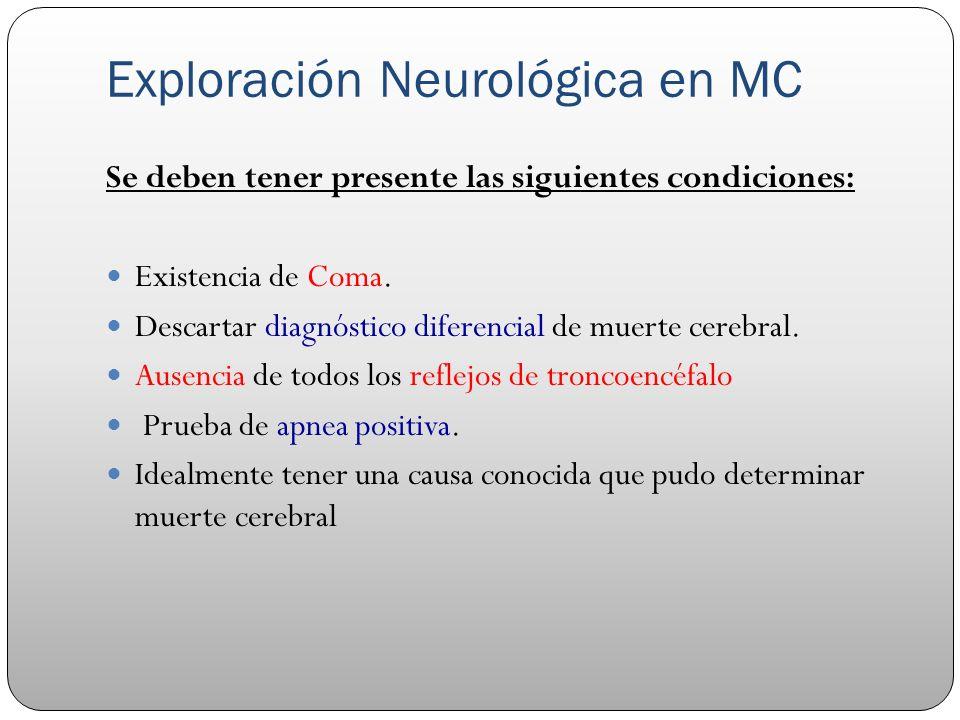 Exploración Neurológica en MC Se deben tener presente las siguientes condiciones: Existencia de Coma. Descartar diagnóstico diferencial de muerte cere