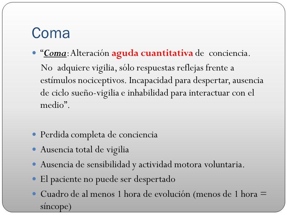 Coma Coma: Alteración aguda cuantitativa de conciencia. No adquiere vigilia, sólo respuestas reflejas frente a estímulos nociceptivos. Incapacidad par