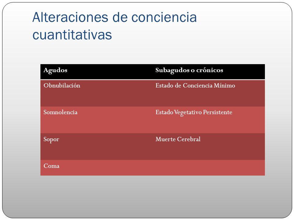 Alteraciones de conciencia cuantitativas AgudosSubagudos o crónicos ObnubilaciónEstado de Conciencia Mínimo SomnolenciaEstado Vegetativo Persistente S