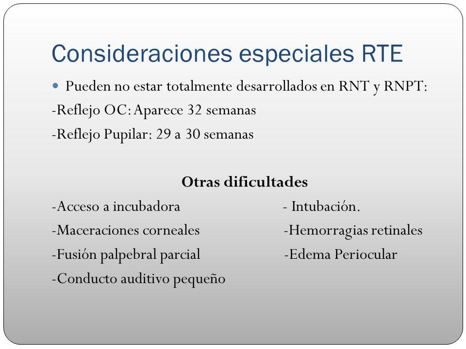 Consideraciones especiales RTE Pueden no estar totalmente desarrollados en RNT y RNPT: -Reflejo OC: Aparece 32 semanas -Reflejo Pupilar: 29 a 30 seman