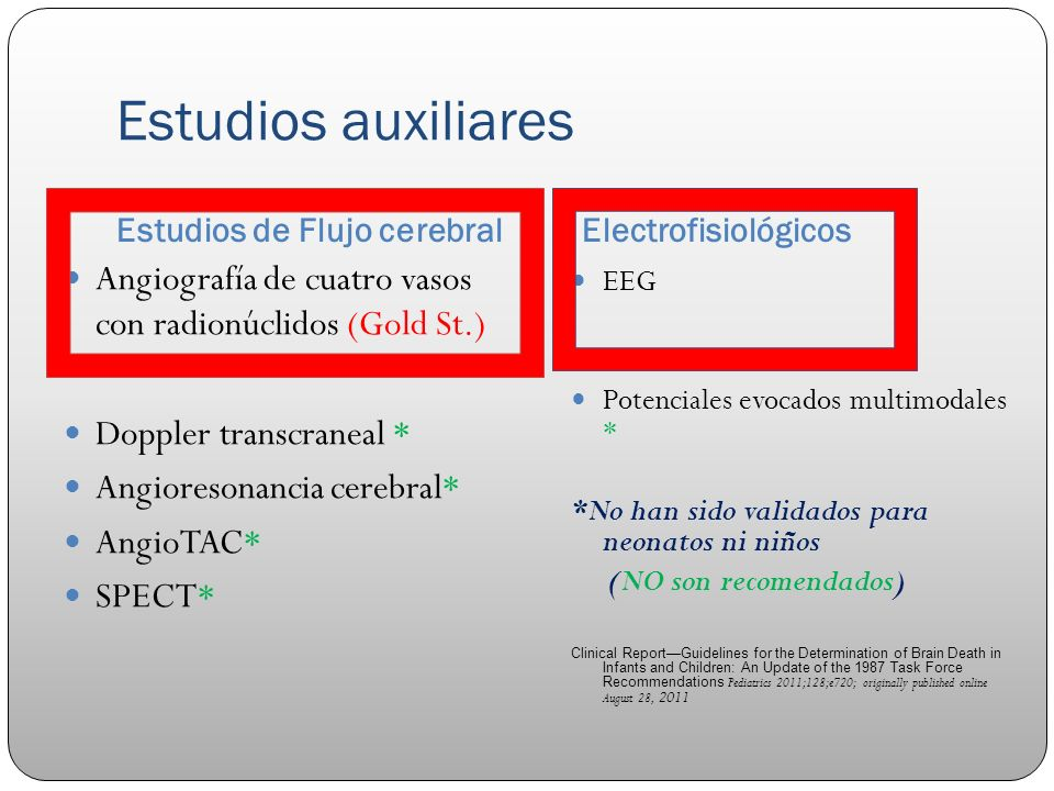 Estudios auxiliares Estudios de Flujo cerebralElectrofisiológicos Angiografía de cuatro vasos con radionúclidos (Gold St.) Doppler transcraneal * Angioresonancia cerebral* AngioTAC* SPECT* EEG Potenciales evocados multimodales * *No han sido validados para neonatos ni niños (NO son recomendados) Clinical ReportGuidelines for the Determination of Brain Death in Infants and Children: An Update of the 1987 Task Force Recommendations Pediatrics 2011;128;e720; originally published online August 28, 2011