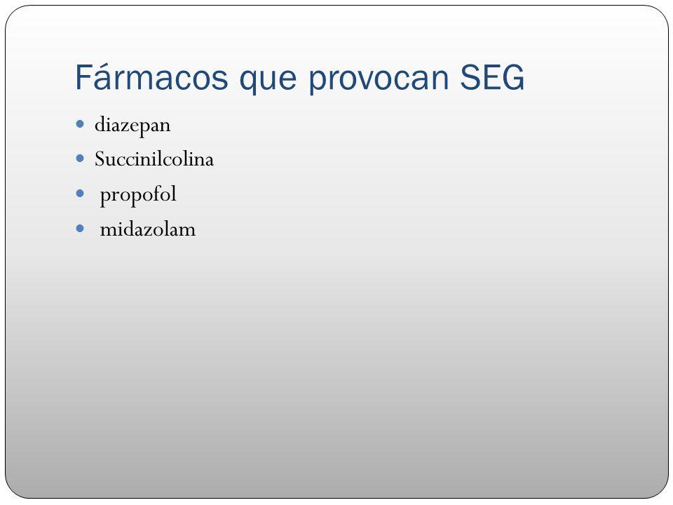 Fármacos que provocan SEG diazepan Succinilcolina propofol midazolam