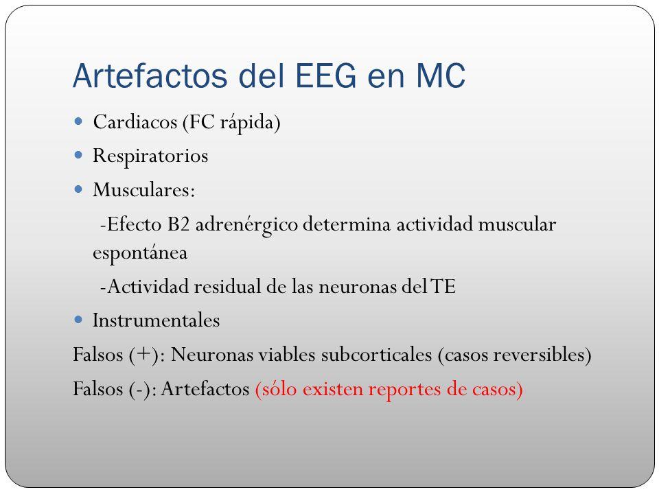 Artefactos del EEG en MC Cardiacos (FC rápida) Respiratorios Musculares: -Efecto B2 adrenérgico determina actividad muscular espontánea -Actividad res