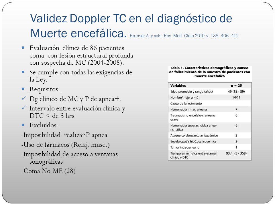 Validez Doppler TC en el diagnóstico de Muerte encefálica. Brunser A. y cols. Rev. Med. Chile 2010 v. 138: 406 -412 Evaluación clínica de 86 pacientes
