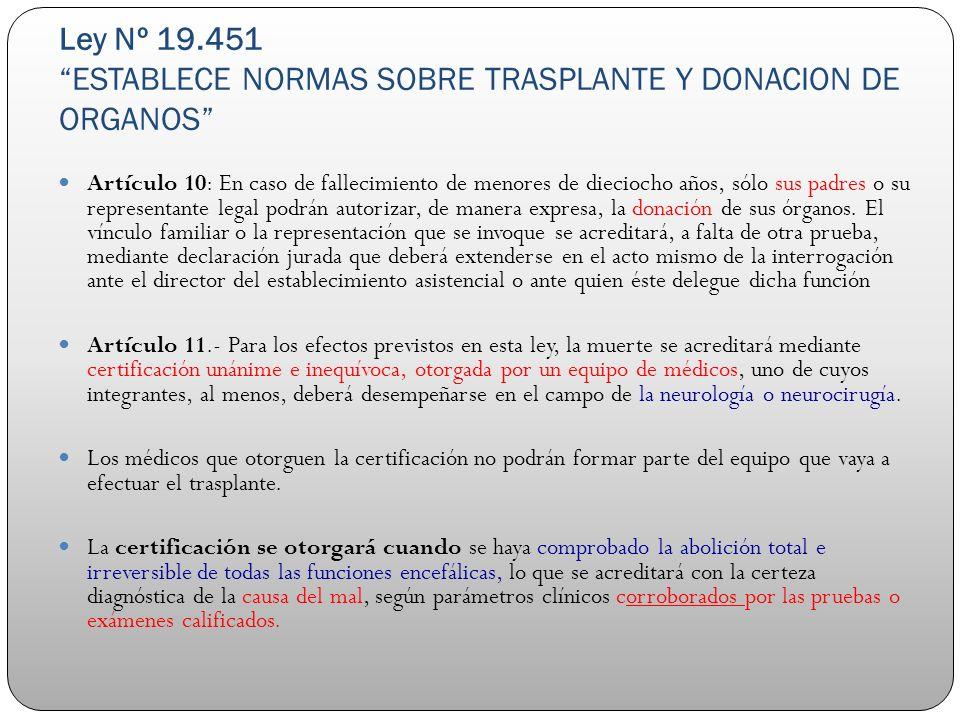 Ley Nº 19.451ESTABLECE NORMAS SOBRE TRASPLANTE Y DONACION DE ORGANOS Artículo 10: En caso de fallecimiento de menores de dieciocho años, sólo sus padr