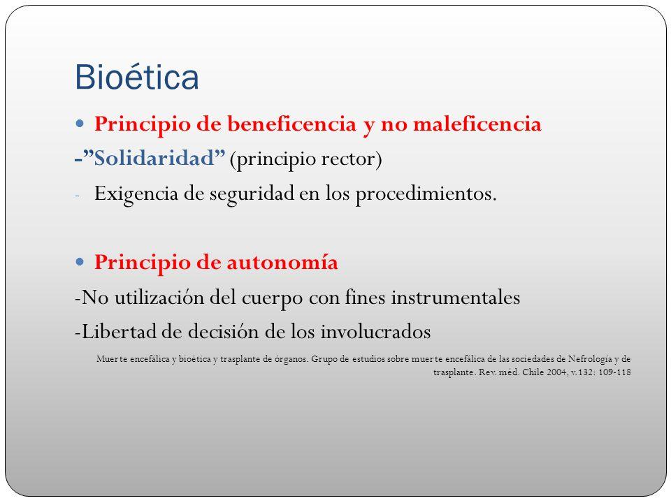 Bioética Principio de beneficencia y no maleficencia -Solidaridad (principio rector) - Exigencia de seguridad en los procedimientos. Principio de auto