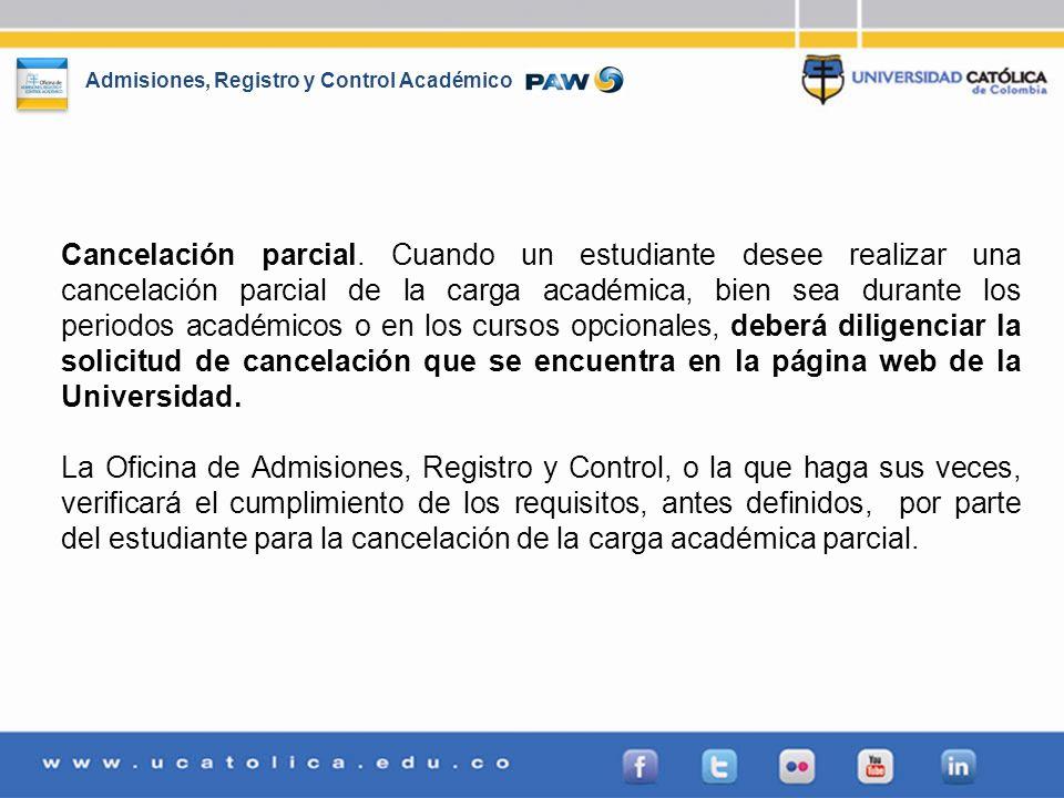 Admisiones, Registro y Control Académico Cancelación parcial. Cuando un estudiante desee realizar una cancelación parcial de la carga académica, bien