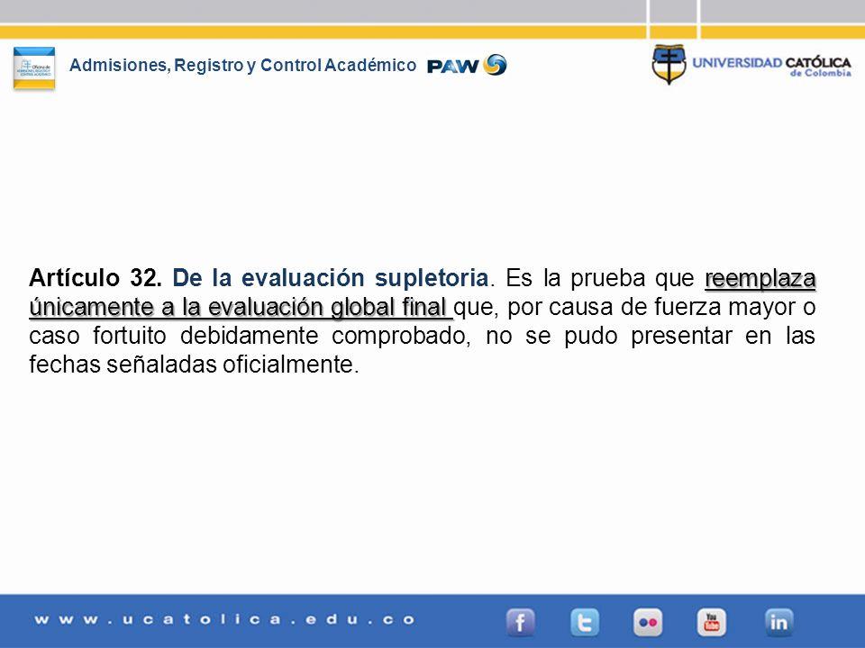 Admisiones, Registro y Control Académico reemplaza únicamente a la evaluación global final Artículo 32. De la evaluación supletoria. Es la prueba que