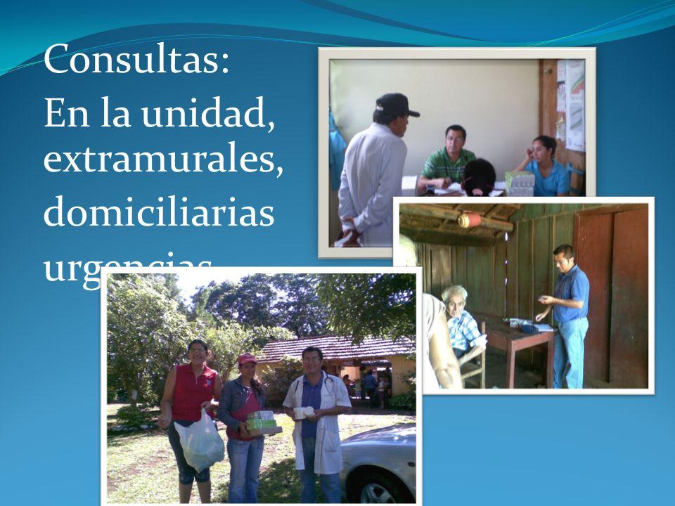 Consultas: En la unidad, extramurales, domiciliarias urgencias