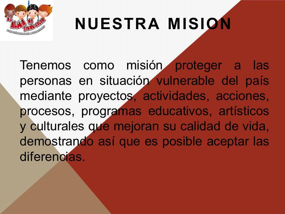 VISION Para el año 2020 ser una organización líder e incluyente en generación de oportunidades para la población vulnerable mediante acciones y alianzas estratégicas con diferentes organizaciones tanto del sector público como privado a nivel nacional e internacional.