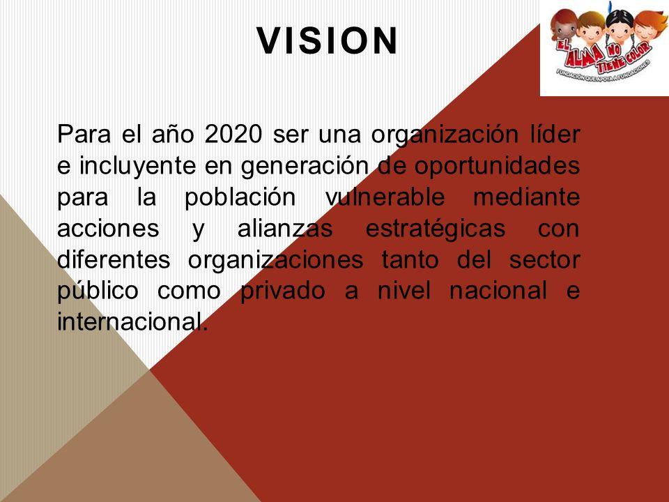 VISION Para el año 2020 ser una organización líder e incluyente en generación de oportunidades para la población vulnerable mediante acciones y alianz
