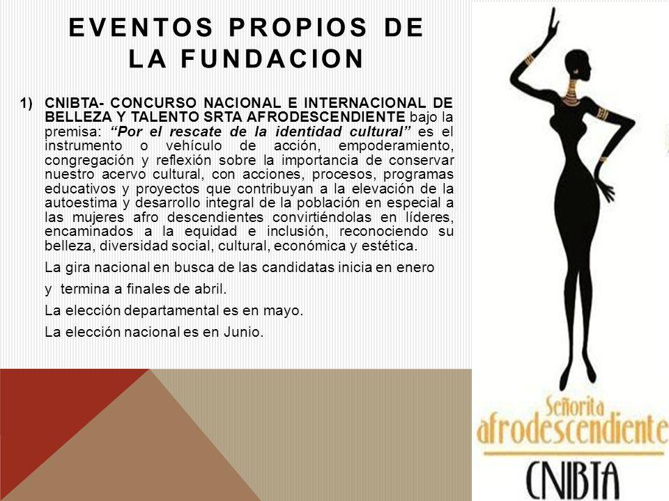 EVENTOS PROPIOS DE LA FUNDACION 1)CNIBTA- CONCURSO NACIONAL E INTERNACIONAL DE BELLEZA Y TALENTO SRTA AFRODESCENDIENTE bajo la premisa: Por el rescate
