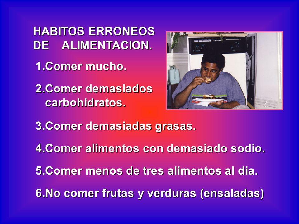 HABITOS ERRONEOS DE ALIMENTACION. 1.Comer mucho. 2.Comer demasiados carbohidratos. carbohidratos. 3.Comer demasiadas grasas. 4.Comer alimentos con dem