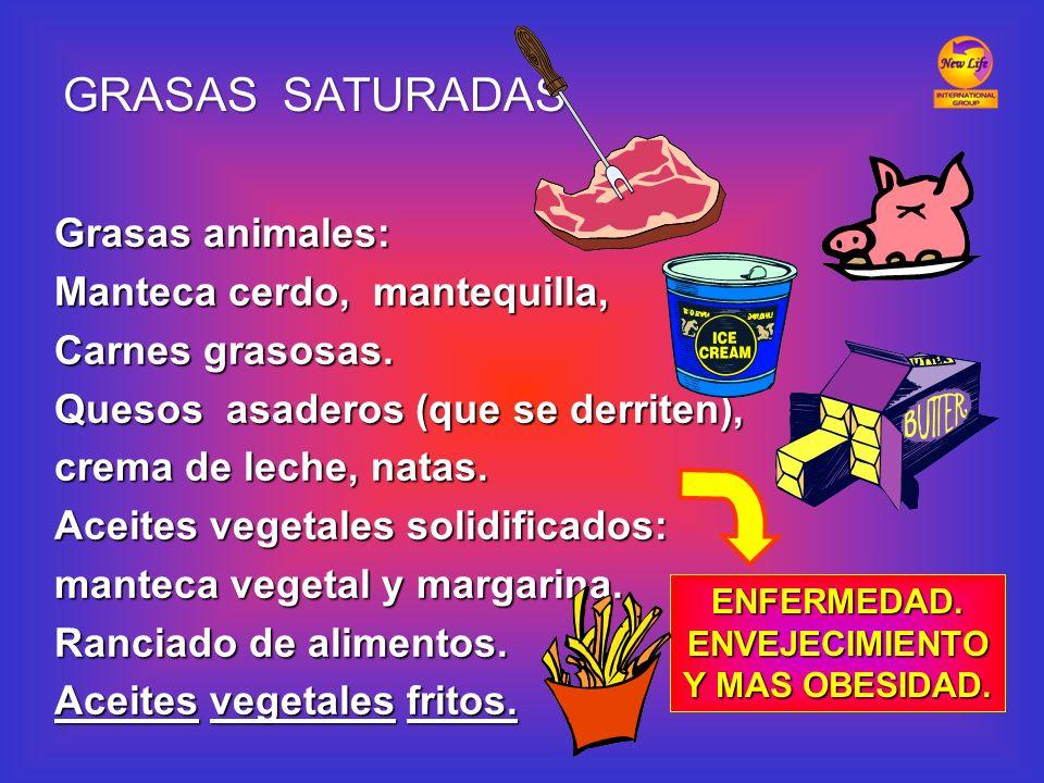 Grasas animales: Manteca cerdo, mantequilla, Carnes grasosas. Quesos asaderos (que se derriten), crema de leche, natas. Aceites vegetales solidificado
