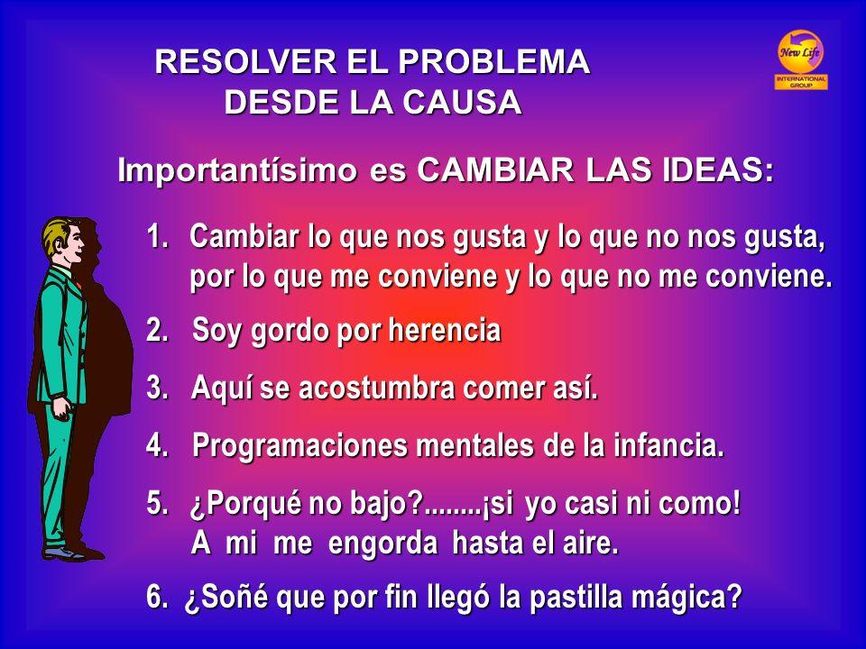 RESOLVER EL PROBLEMA DESDE LA CAUSA Importantísimo es CAMBIAR LAS IDEAS: 1.Cambiar lo que nos gusta y lo que no nos gusta, por lo que me conviene y lo