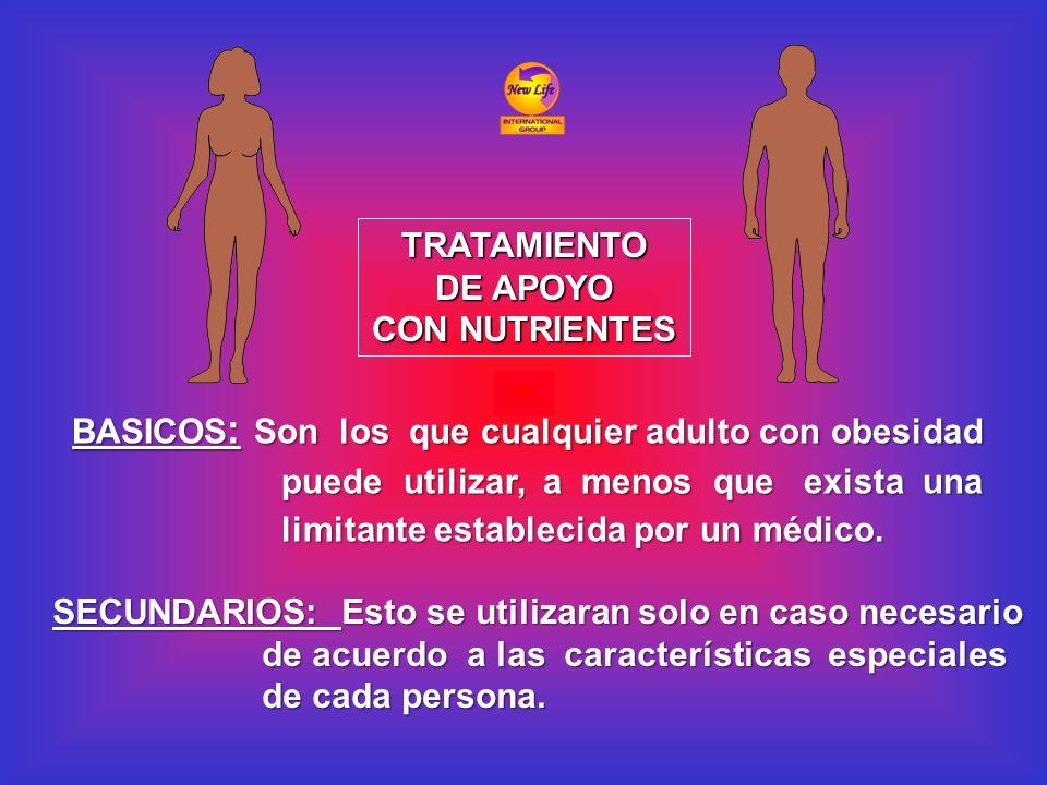 TRATAMIENTO DE APOYO CON NUTRIENTES BASICOS : Son los que cualquier adulto con obesidad puede utilizar, a menos que exista una limitante establecida p