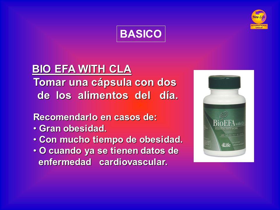 BIO EFA WITH CLA BIO EFA WITH CLA Tomar una cápsula con dos de los alimentos del día. de los alimentos del día. Recomendarlo en casos de: Gran obesida