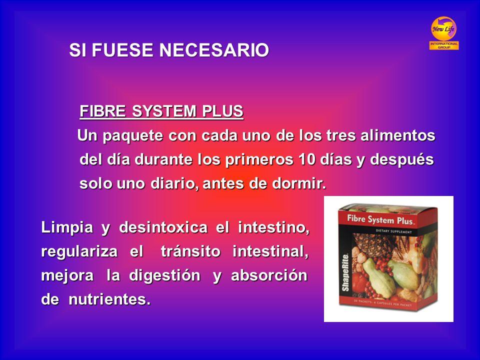 FIBRE SYSTEM PLUS FIBRE SYSTEM PLUS Un paquete con cada uno de los tres alimentos del día durante los primeros 10 días y después del día durante los p