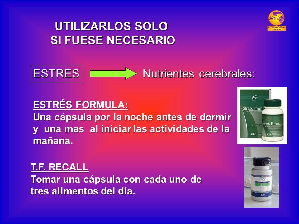 ESTRES Nutrientes cerebrales: ESTRÉS FORMULA: Una cápsula por la noche antes de dormir y una mas al iniciar las actividades de la mañana. T.F. RECALL