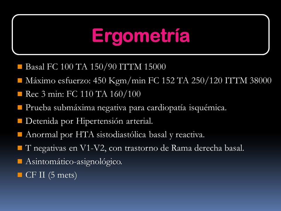 Basal FC 100 TA 150/90 ITTM 15000 Máximo esfuerzo: 450 Kgm/min FC 152 TA 250/120 ITTM 38000 Rec 3 min: FC 110 TA 160/100 Prueba submáxima negativa par