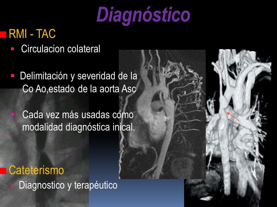 Diagnóstico RMI - TAC Circulacion colateral Delimitación y severidad de la Co Ao,estado de la aorta Asc Cada vez más usadas como modalidad diagnóstica