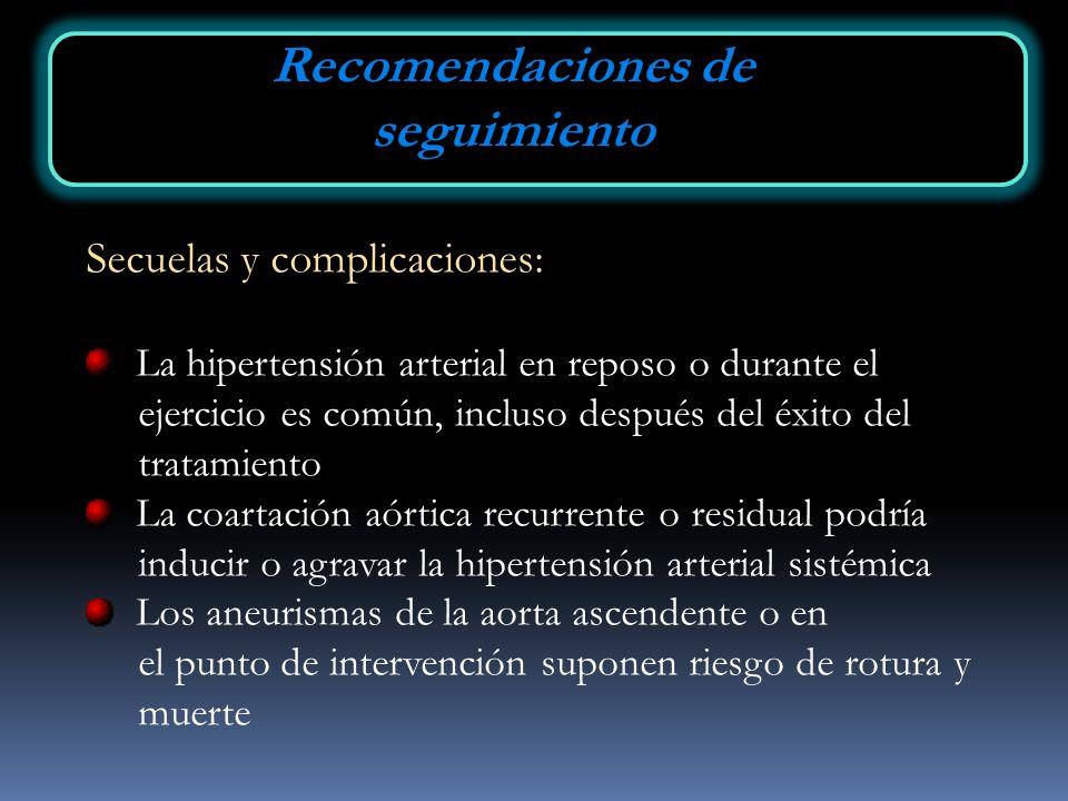Secuelas y complicaciones: La hipertensión arterial en reposo o durante el ejercicio es común, incluso después del éxito del tratamiento La coartación