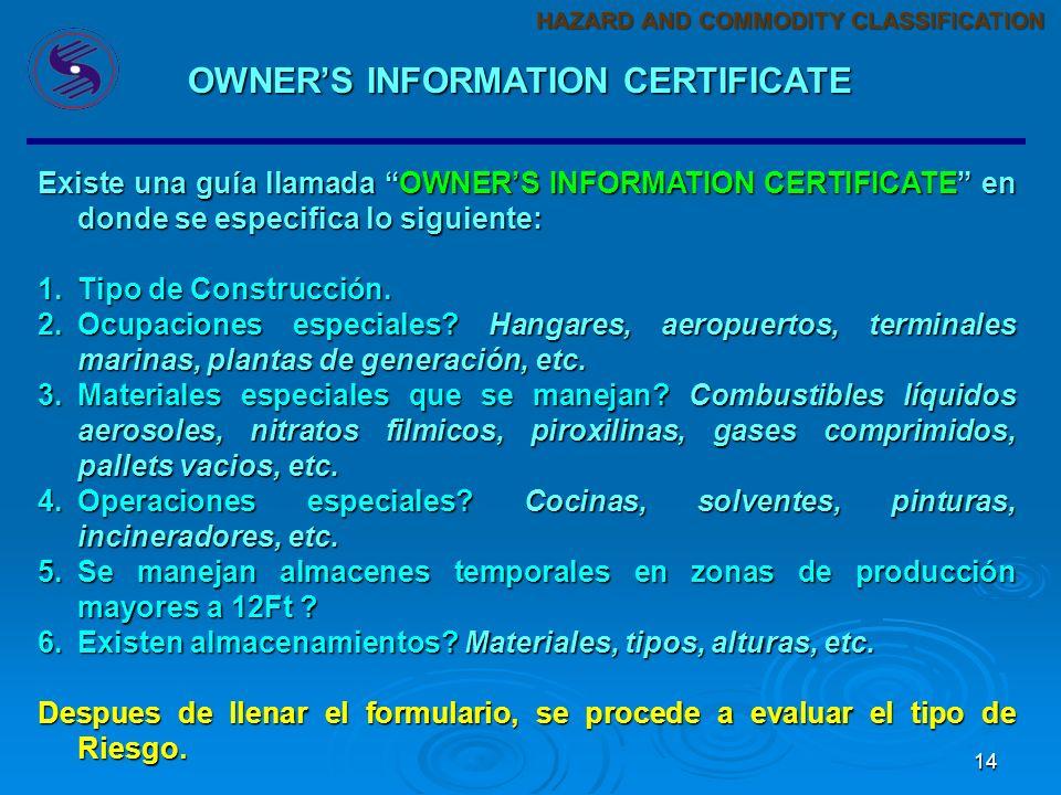 14 Existe una guía llamada OWNERS INFORMATION CERTIFICATE en donde se especifica lo siguiente: 1.Tipo de Construcción.
