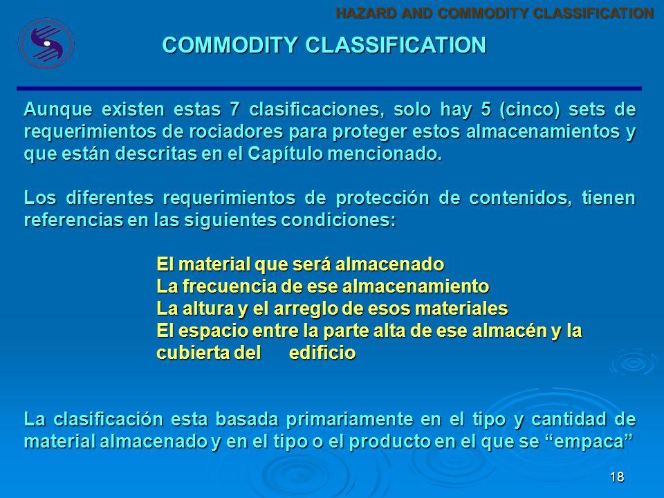 17 La clasificación de contenidos viene referenciada en NFPA-13 en el Capítulo-12 General Requirements for Storage. Se mencionan 7 tipos de clasificac