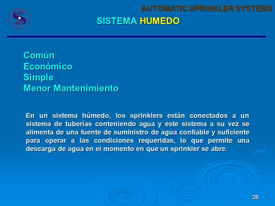 25 AUTOMATIC SPRINKLER SYSTEMS Es un combinación de un sistema de tuberías (subterráneas y/o superficiales) que se encuentran instaladas (o no) alrede