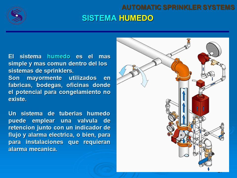 26 AUTOMATIC SPRINKLER SYSTEMS SISTEMA HUMEDO ComúnEconómicoSimple Menor Mantenimiento En un sistema húmedo, los sprinklers están conectados a un sist