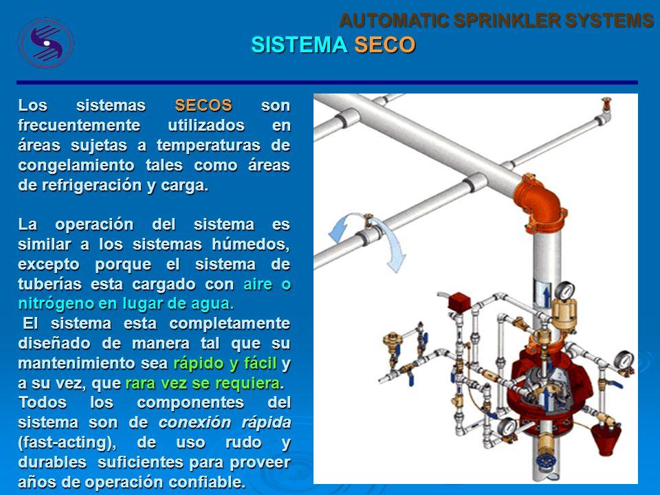 29 AUTOMATIC SPRINKLER SYSTEMS SISTEMA SECO Los sistemas SECOS son frecuentemente utilizados en áreas sujetas a temperaturas de congelamiento tales como áreas de refrigeración y carga.