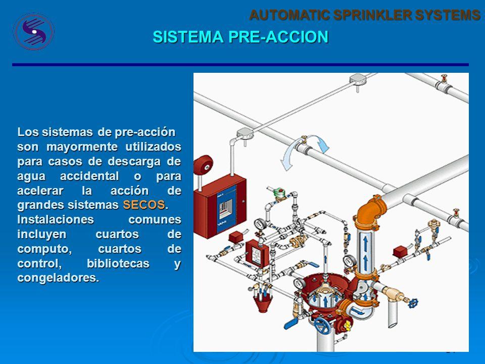 30 AUTOMATIC SPRINKLER SYSTEMS SISTEMA PRE-ACCION En este sistema los sprinklers se instalan en una tuberia sometidada a presion (no necesariamente) l
