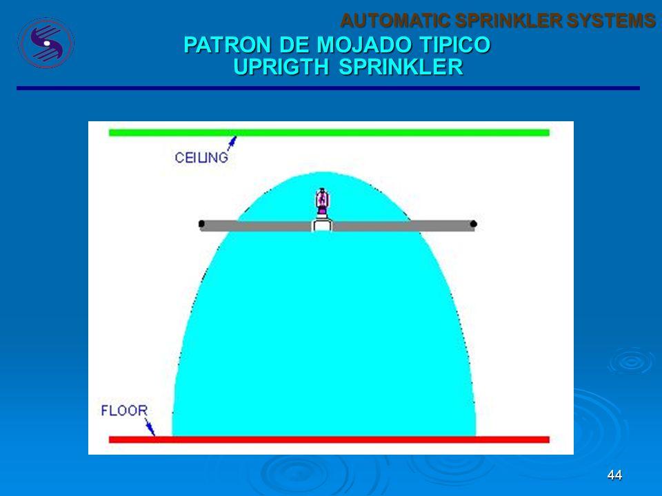 44 AUTOMATIC SPRINKLER SYSTEMS PATRON DE MOJADO TIPICO UPRIGTH SPRINKLER