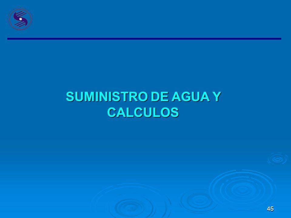 45 SUMINISTRO DE AGUA Y CALCULOS