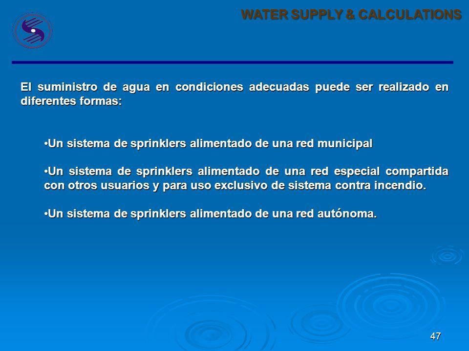 46 WATER SUPPLY & CALCULATIONS El suministro de agua para la lucha contra incendio es un tema primordial. A principios de 1800 las tuberias en la ciud