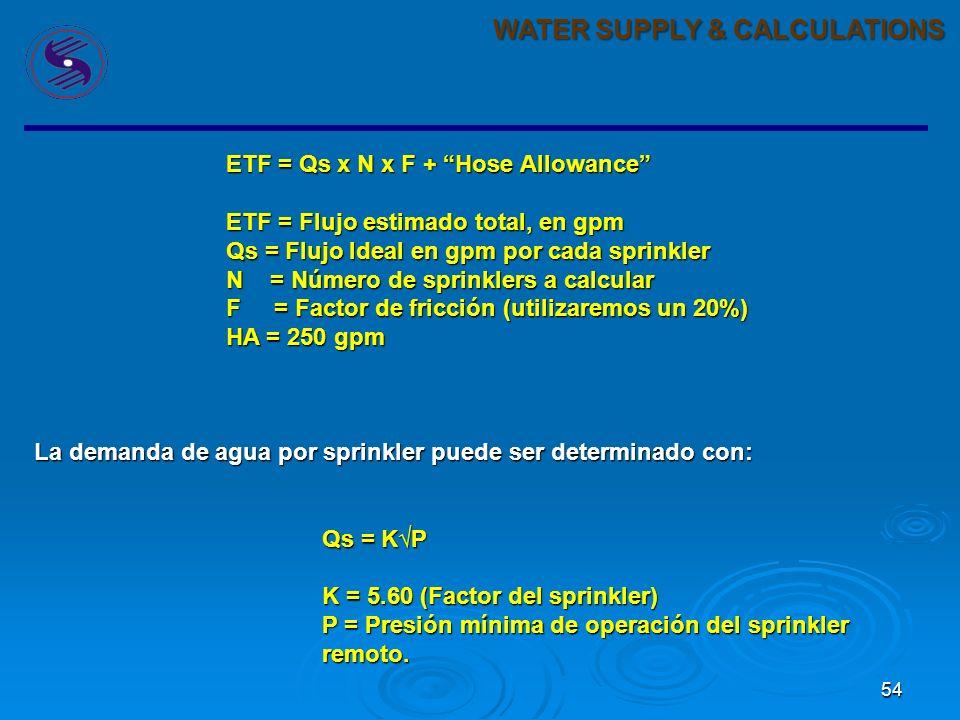 54 WATER SUPPLY & CALCULATIONS ETF = Qs x N x F + Hose Allowance ETF = Flujo estimado total, en gpm Qs = Flujo Ideal en gpm por cada sprinkler N = Número de sprinklers a calcular F = Factor de fricción (utilizaremos un 20%) HA = 250 gpm La demanda de agua por sprinkler puede ser determinado con: Qs = KP K = 5.60 (Factor del sprinkler) P = Presión mínima de operación del sprinkler remoto.