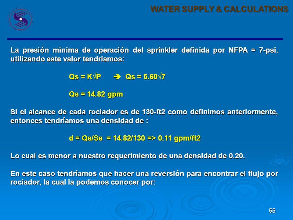 55 WATER SUPPLY & CALCULATIONS La presión mínima de operación del sprinkler definida por NFPA = 7-psi.