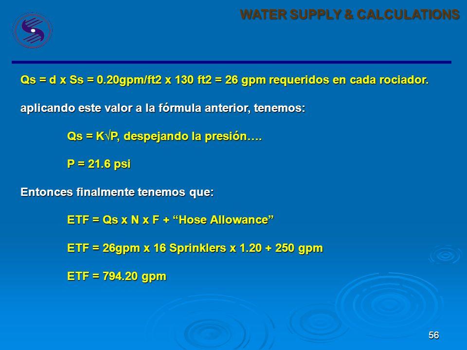 55 WATER SUPPLY & CALCULATIONS La presión mínima de operación del sprinkler definida por NFPA = 7-psi. utilizando este valor tendriamos: Qs = KP Qs =